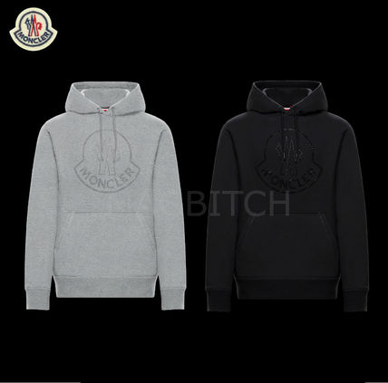 MONCLER Hoodies Street Style Long Sleeves Plain Cotton With Jewels Hoodies