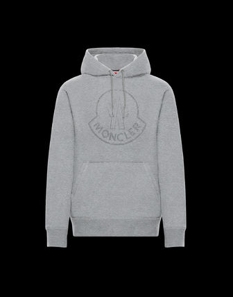 MONCLER MONCLER GENIUS Street Style Long Sleeves Plain Cotton With Jewels Hoodies
