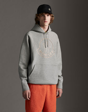 MONCLER Hoodies Street Style Long Sleeves Plain Cotton With Jewels Hoodies 3