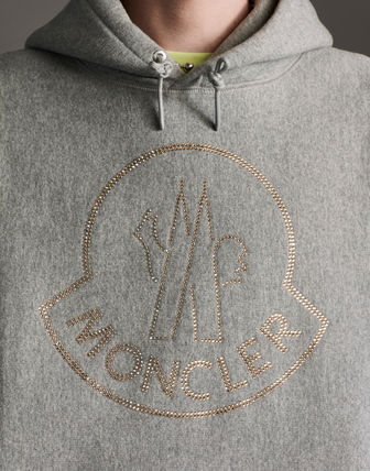 MONCLER Hoodies Street Style Long Sleeves Plain Cotton With Jewels Hoodies 6