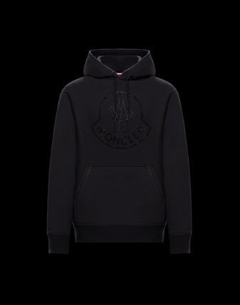 MONCLER Hoodies Street Style Long Sleeves Plain Cotton With Jewels Hoodies 7