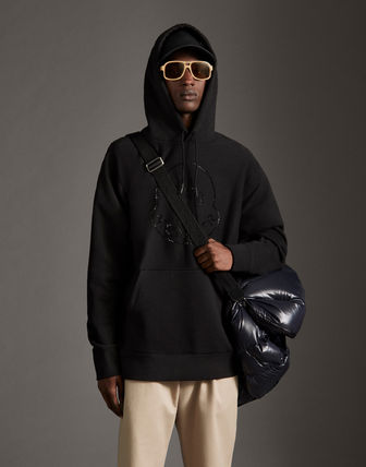 MONCLER Hoodies Street Style Long Sleeves Plain Cotton With Jewels Hoodies 8