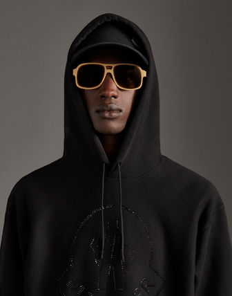 MONCLER Hoodies Street Style Long Sleeves Plain Cotton With Jewels Hoodies 10