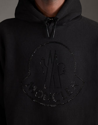 MONCLER Hoodies Street Style Long Sleeves Plain Cotton With Jewels Hoodies 11
