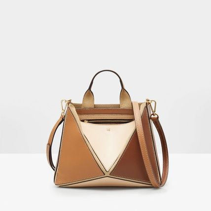 Casual Style Leather TANGRAM SHOULDER BAG