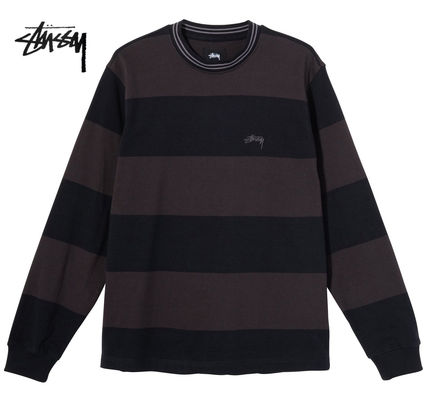 STUSSY Stripes Street Style Long Sleeves Long Sleeve T-shirt