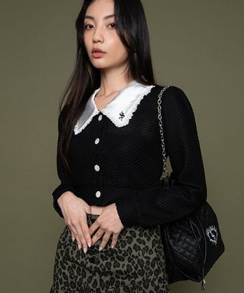 Casual Style Street Style Long Sleeves Plain Lace