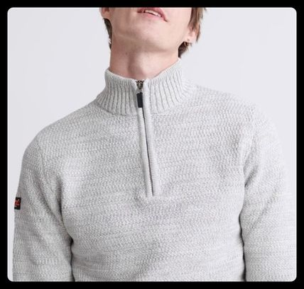 Long Sleeves Plain Cotton Logos on the Sleeves Logo Sweaters