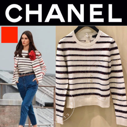 CHANEL Crew Neck Stripes Long Sleeves With Jewels Elegant Style