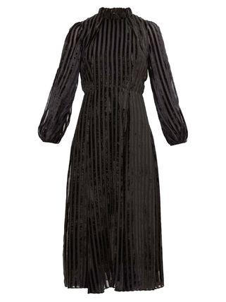 Beulah London Stripes A-line Silk Flared Cropped Party Style High-Neck