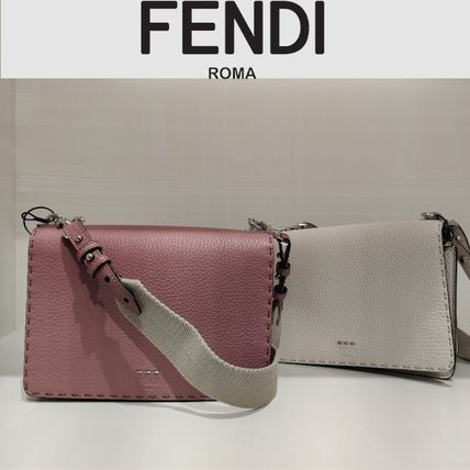 FENDI SELLERIA Calfskin Plain Leather Handmade Crossbody Shoulder Bags