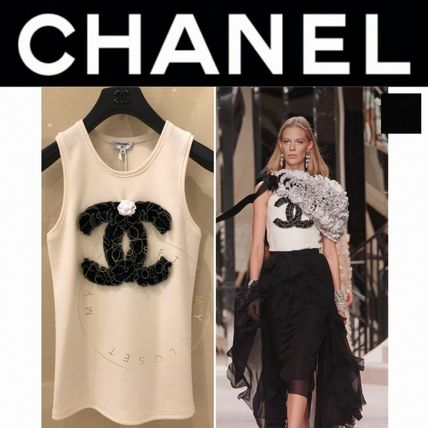 CHANEL Crew Neck Flower Patterns Blended Fabrics Street Style Plain