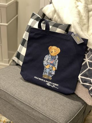 Ralph Lauren Casual Style Unisex Denim A4 Office Style Totes