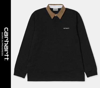 Street Style Long Sleeves Logo Polos