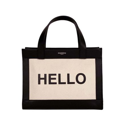 Casual Style Canvas Plain Leather Elegant Style Logo Totes