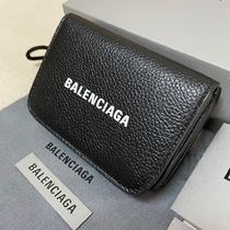 BALENCIAGA Unisex Plain Leather Folding Wallet Logo Folding Wallets