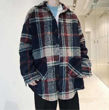 Other Plaid Patterns Wool Street Style Long Trench Coats