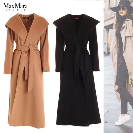 Wool Plain Long Office Style Elegant Style Coats