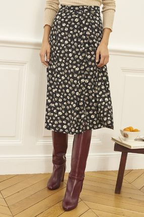 Flared Skirts Flower Patterns Casual Style Medium Midi