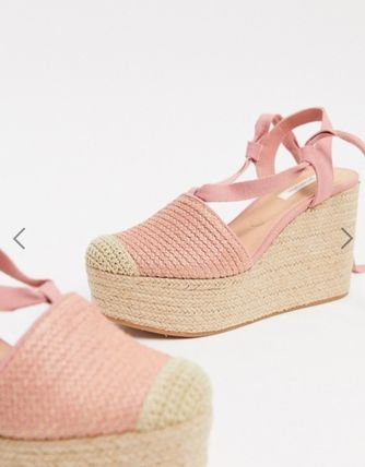 Round Toe Lace-up Casual Style Plain