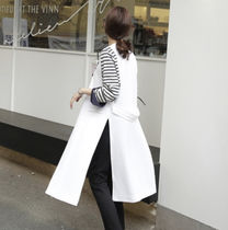 Casual Style Plain Long Office Style Vests