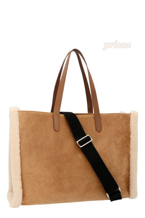 Calfskin A4 2WAY Plain Leather Fringes Shearling Logo Totes