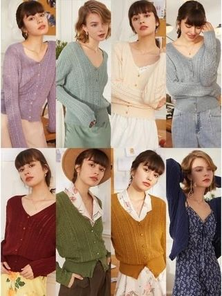 Cable Knit Short Casual Style Wool Rib Long Sleeves Plain