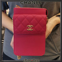 CHANEL ICON Casual Style 3WAY Bi-color Chain Plain Leather Party Style