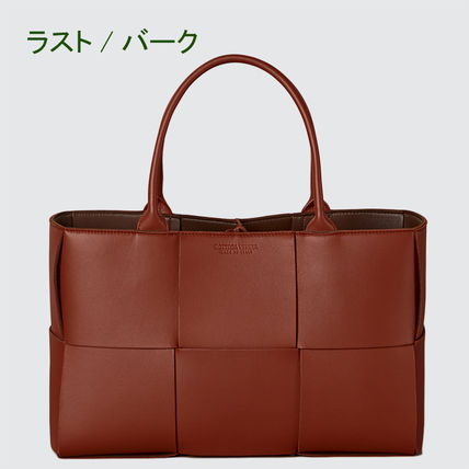 Casual Style Calfskin A4 Bi-color Plain Leather Office Style