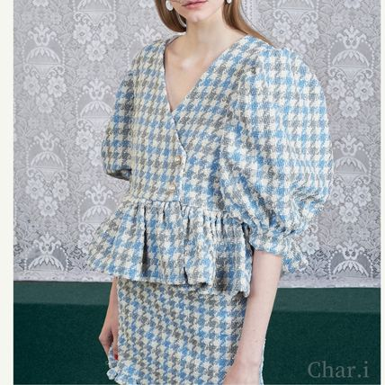 Short Other Plaid Patterns Peplum Short Sleeves Puff Sleeves