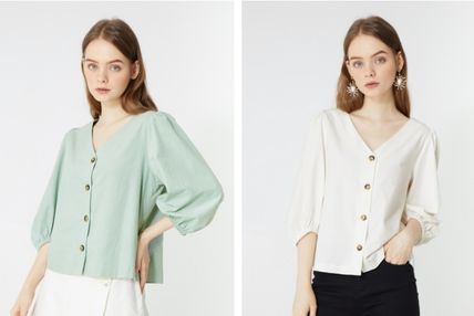 Short Casual Style Cropped Plain Cotton Office Style