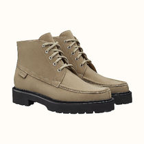 HERMES Mountain Boots Street Style Plain Leather Logo Outdoor Boots