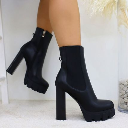 Casual Style Suede Plain Pin Heels Elegant Style Bold