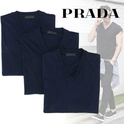 PRADA Luxury V-Neck Cotton Short Sleeves V-Neck T-Shirts