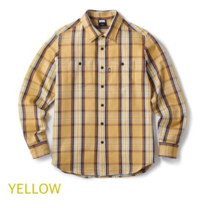 Button-down Other Plaid Patterns Long Sleeves Cotton Logo