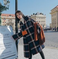 Other Plaid Patterns Casual Style Tweed Medium Coats