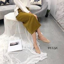 Square Toe Platform Casual Style Suede Faux Fur Street Style