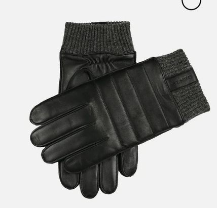 DENTS Leather Logo Leather & Faux Leather Gloves