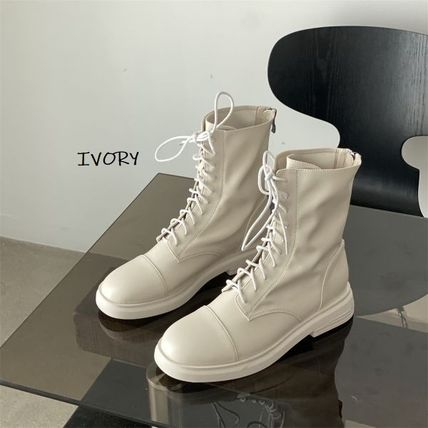 Platform Round Toe Rubber Sole Lace-up Casual Style Faux Fur