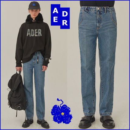 ADERERROR More Jeans Unisex Street Style Plain Cotton Logo Jeans
