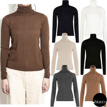 MaxMara Wool Long Sleeves Plain Medium Elegant Style Turtlenecks