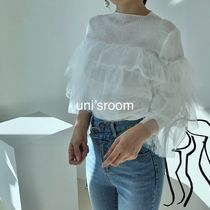 Short Cropped Plain Medium High-Neck Puff Sleeves Icy Color