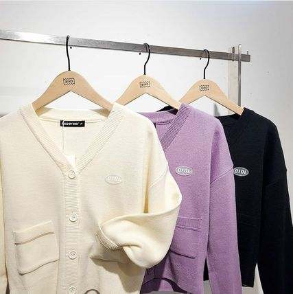 oioi korea Street Style Long Sleeves Plain Logo Cardigans