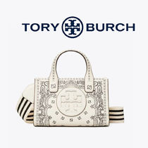 Tory Burch ELLA TOTE Gingham Tartan Other Plaid Patterns Flower Patterns Paisley