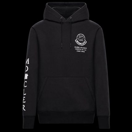 MONCLER Hoodies Collaboration Long Sleeves Plain Cotton Logos on the Sleeves 2