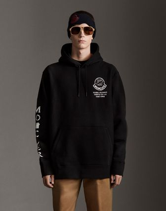 MONCLER Hoodies Collaboration Long Sleeves Plain Cotton Logos on the Sleeves 3