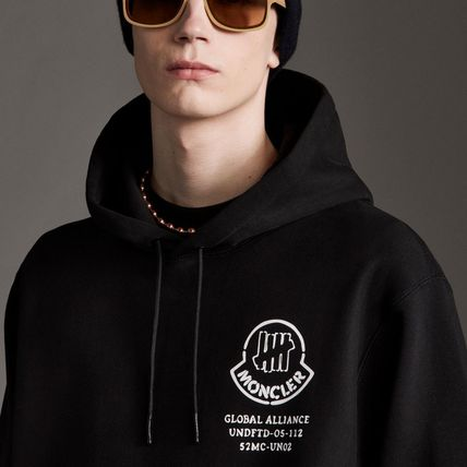 MONCLER Hoodies Collaboration Long Sleeves Plain Cotton Logos on the Sleeves 5