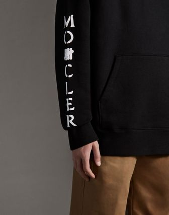 MONCLER Hoodies Collaboration Long Sleeves Plain Cotton Logos on the Sleeves 6