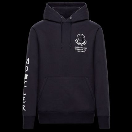 MONCLER Hoodies Collaboration Long Sleeves Plain Cotton Logos on the Sleeves 7