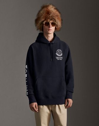 MONCLER Hoodies Collaboration Long Sleeves Plain Cotton Logos on the Sleeves 8